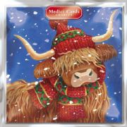 Medici Multi Charity Pack of 8 Christmas Cards - Highland Cow
